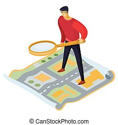 3d isometry, a man with a large magnifying glass in his hands is standing on the map and looking for something, isolated object on a white background,