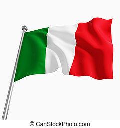 3d italian flag isolated on white background