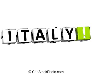 3D Italy Button Click Here Block Text