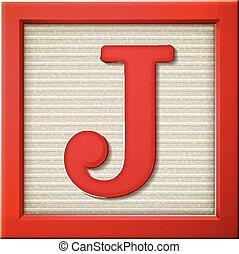 3d, j, 手紙, ブロック, 赤