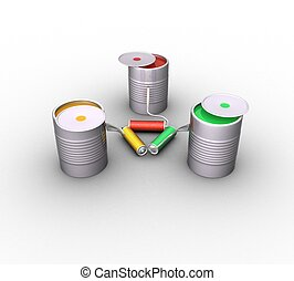 3d jars of red, green and yellow paint and rollers in the form of a triangle on a white background isolated