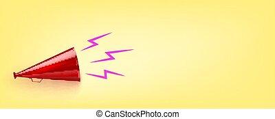 3d, jaune, vieux, arrière-plan., illustration., rouges, vecteur, haut-parleur
