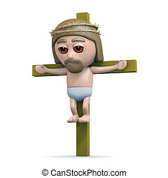 3d Jesus on the cross - 3d render of Jesus on the cross