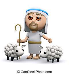 3d Jesus the shepherd - 3d render of Jesus with his flock of...