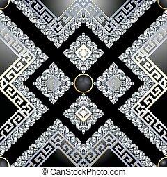 3d Jewelry Diamonds vector seamless pattern. Greek ornamental brilliants background. Abstract geometric repeat backdrop. Greek key meanders modern ornament with brilliant gemstones, stripes, rhombus.
