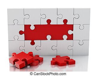 3d Jigsaw Puzzle. Business creativity and success concept