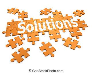 "3d Jigsaw puzzle ""Solutions"" - 3d render of a jigsaw..."