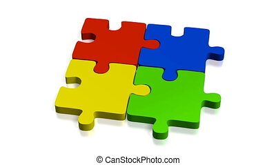 3D jigsaw puzzle, white background