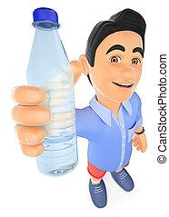 3d, joven, en, calzoncillos, con, un, botella de agua