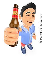 3d, joven, en, calzoncillos, con, un, botella de cerveza