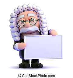 3d Judge banner - 3d render of a judge holding a blank...