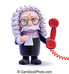 3d Judge phone call - 3d render of a judge holding a red...
