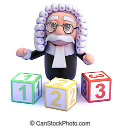 3d Judge teaches you to count - 3d render of a judge with...