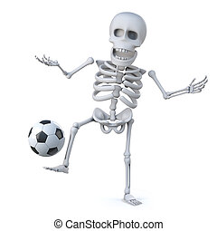 3d, jugador, fútbol, esqueleto, agudo