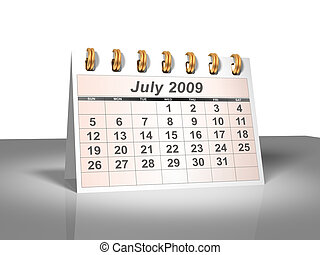 (3d)., juillet, 2009, calendrier, bureau