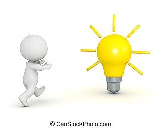3d, karakter, rennende , om te, lightbulb
