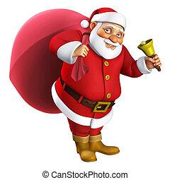 3d, karikatur, santa, glocke