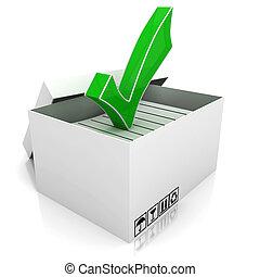 3d, kasten, und, grün, prüfen markierung