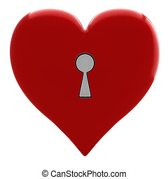 3d key and heart, Valentine Concept