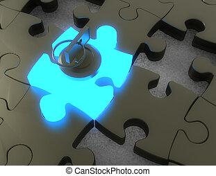 3d key and puzzle pieces .3d illustration