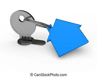3d key blue house