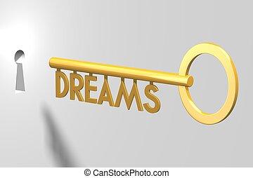 3D key concept - dreams