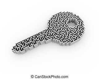 3d key shape labyrinth puzzle maze - 3d illustration of key...