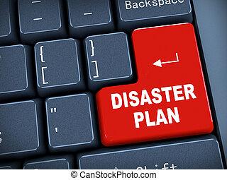 3d keyboard - disaster plan - 3d rendering of black computer...