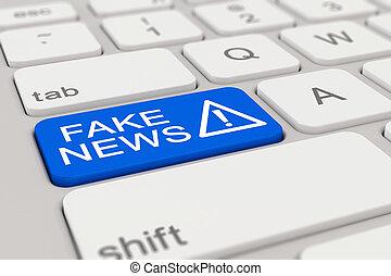 3d - keyboard - fake news - blue
