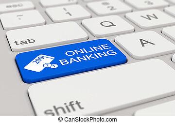 3d - keyboard - online banking - blue