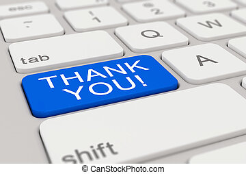 3d - keyboard - thank you - blue
