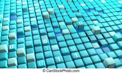 3D keyboard with flying click buttons. Key information data server computing technology bytes. Code operating system modern neural network business concept video animation.