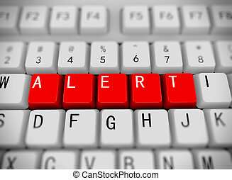 3d rendering of white computer keyboard with red buttons of word alert