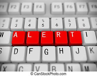 3d keyboard - word alert - 3d rendering of white computer ...