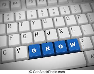3d keyboard - word grow