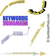 3d keywords on white
