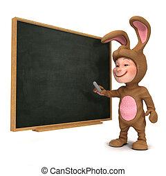 3d Kid in bunny costume at the blackboard
