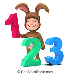 3d Kid in bunny costume learns to count