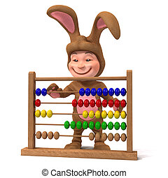 3d Kid in bunny costume with abacus