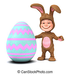 3d Kid in bunny costume with Easter egg