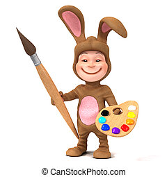 3d Kid in bunny costume with paint brush