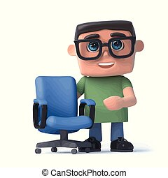 3d Kid in glasses next to an empty office chair