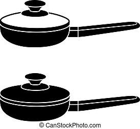 3d kitchen pan black symbol