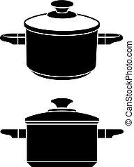 3d kitchen pot black symbol