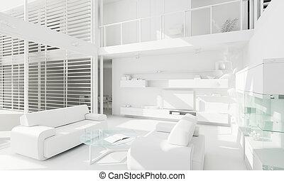 3d, klei, render, van, een, moderne, interieurdesign
