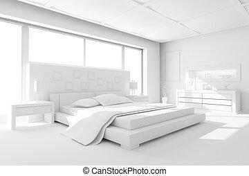 Interieur, render, slaapkamer. Interieur, slaapkamer, enig ...