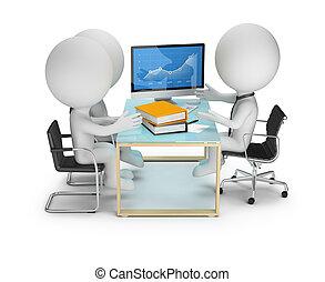3d, klein, leute, -, diskussion, mit, klienten