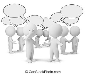 3d, klein, leute, -, diskussion