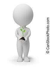 3d, klein, leute, -, frisch, pflanzenkeim
