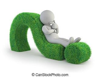 3d, klein, leute, -, liegen, auf, a, grün, fragezeichen